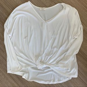 White front twist blouse